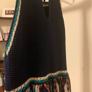 Maxi Dress with Blue Knitted Top